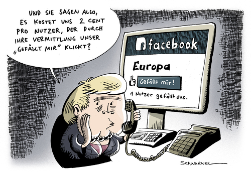 Cartoon: Facebook Europa Merkel (medium) by Schwarwel tagged schwarwel,karikatur,merkel,europäer,idee,euro,eu,europa,forum,portal,klicks,mir,gefällt,facebook,facebook,netzwerk,kommunikation,internet,web,computer,europa,merkel