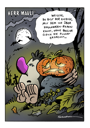 Cartoon: Halloween (medium) by Schwarwel tagged schwarwel,halloween,cartoon,witz,witzig,geist,kuerbis,herr,mauli,orange,halloween,tradition,illustration,horror,orange,kürbis