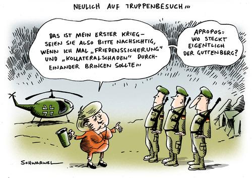 Cartoon: Merkel Afghanistan (medium) by Schwarwel tagged merkel,angela,angie,blitzbesuch,besuch,truppen,soldat,bundeswehr,afghanistan,krieg,kollateralschaden,frieden,guttenberg,karikatur,schwarwel,angela merkel,blitzbesuch,besuch,truppen,soldat,bundeswehr,afghanistan,krieg,kollateralschaden,frieden,guttenberg,angela,merkel