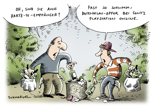 Cartoon: Sony-Datenklau (medium) by Schwarwel tagged sony,daten,klau,hacker,play,station,online,karikatur,schwarwel,sony,daten,datenklau,playstation,online