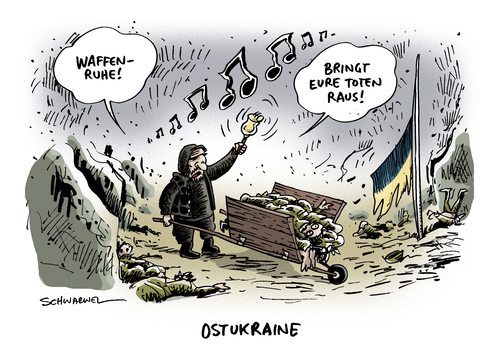 Cartoon: Ukraine Waffenruhe Separatist (medium) by Schwarwel tagged ukraine,waffenruhe,separatist,krise,bedrohung,mord,tot,tod,karikatur,schwarwel,ukraine,waffenruhe,separatist,krise,bedrohung,mord,tot,tod,karikatur,schwarwel