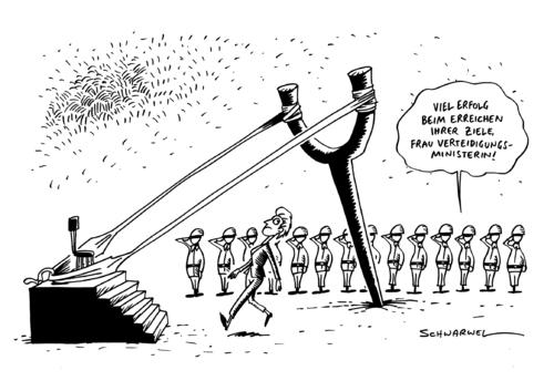 Cartoon: Verteidigungsministerin Leyen (medium) by Schwarwel tagged verteidigungsministerin,tritt,vorbelastetes,amt,an,von,der,leyen,armee,bundeswehr,soldaten,deutschland,regierung,politik,karikatur,schwarwel,verteidigungsministerin,tritt,vorbelastetes,amt,an,von,der,leyen,armee,bundeswehr,soldaten,deutschland,regierung,politik,karikatur,schwarwel