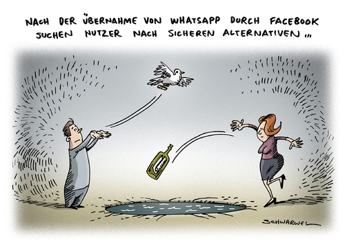 Cartoon: Whatsapp Übernahme Facebook (medium) by Schwarwel tagged ...