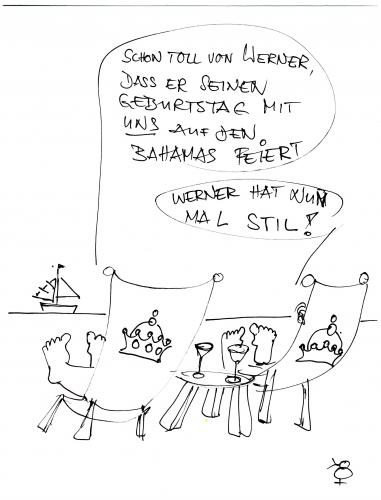 Cartoon: Werner hat Geburtstag (medium) by manfredw tagged werner,bahamas