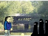 Cartoon: Covered bridge (small) by manfredw tagged covered,bridge,lady,ladies