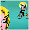 Cartoon: holy warhol (small) by edda von sinnen tagged great,dead,artists,on,bicycles,andy,warhol,marilyn,monroe,pop,art,homage,edda,von,sinnen,illustration,caricature,composing