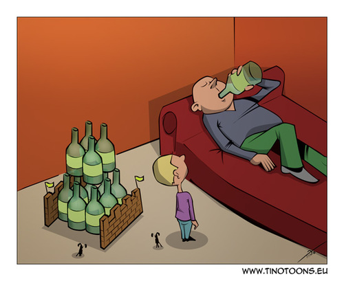 Cartoon: The castle of wine (medium) by tinotoons tagged wine,alcohol,father,son,castle,play,bottle
