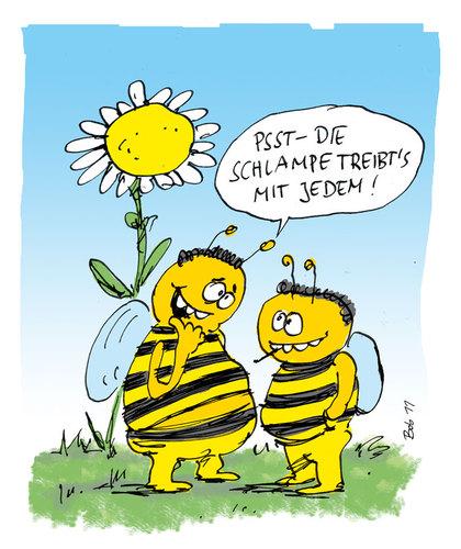Blumen und bienen von bob liebe cartoon toonpool for Fliegen in blumen