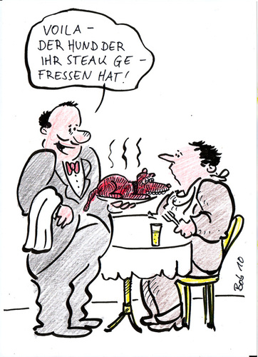 Cartoon: chiliconcane (medium) by bob tagged restaurant,kellner,hund,gast