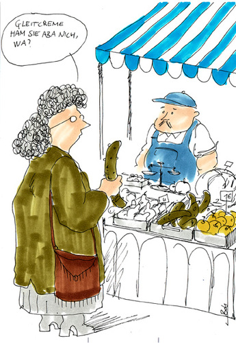 Cartoon: Gleitcreme (medium) by bob tagged gleitcreme,gurke,lube,markt,market