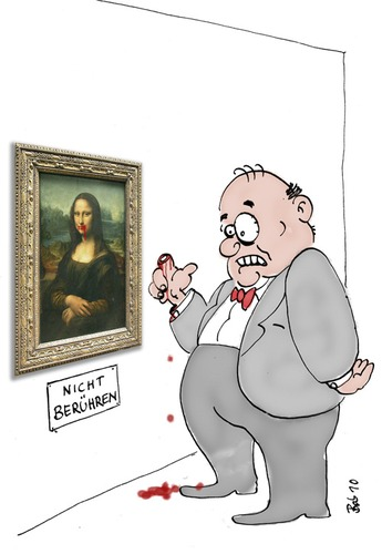 Cartoon: Nicht Berühren (medium) by bob tagged museum,louvre,mona,lisa,gioconda,da,vinci,renaissance