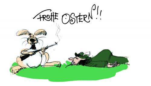 Cartoon: easter (medium) by fifi tagged easter,rabbit,jäger,waffe,