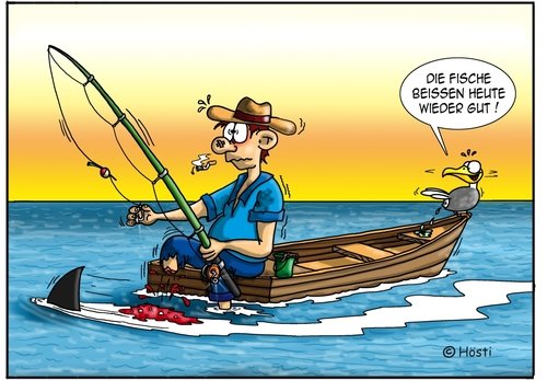 Cartoon: Petri heil ... (medium) by Hösti tagged fishing,shark,holidays,emma,hoesticartoons