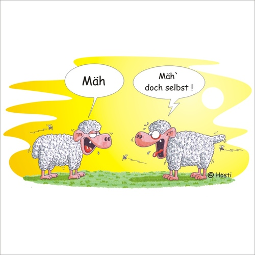 Cartoon: Voll Schaaf (medium) by Hösti tagged vollschaaf,schafe,wolle,hösti,cartoons,sheep