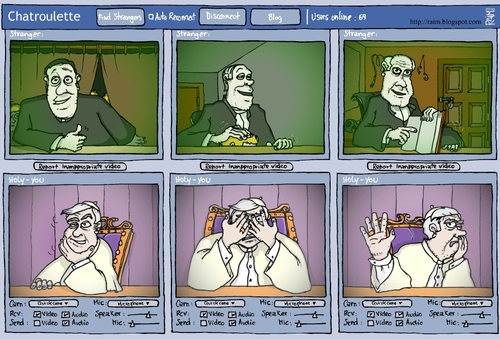 Cartoon: Chatroulette (medium) by raim tagged chatroulette,raim,pope,clerical,caroon
