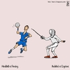 Cartoon: Handball vs Fencing (small) by raim tagged handball,fencing,olympics,games