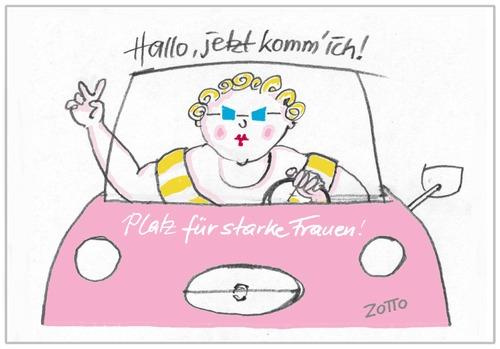 woman at the wheel von zotto wirtschaft cartoon toonpool. Black Bedroom Furniture Sets. Home Design Ideas