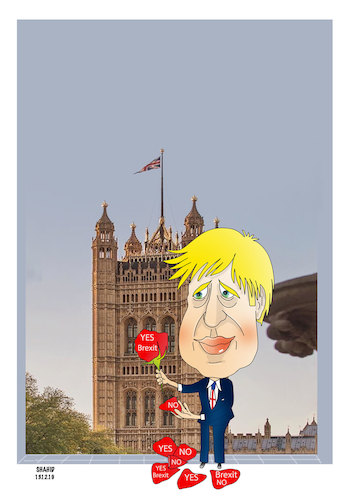 Cartoon: Boris turns Brexit dream into .. (medium) by Shahid Atiq tagged uk