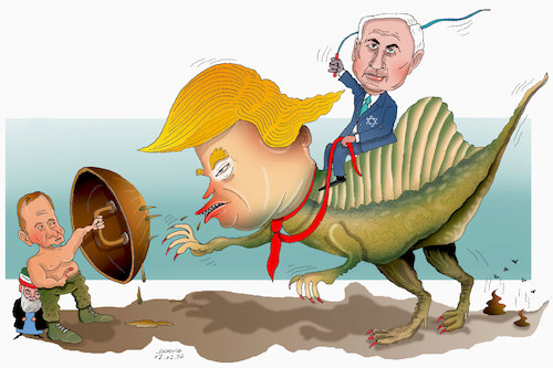 Cartoon: Netanyahu gains From Trump! (medium) by Afghancartoon tagged trump,afghanistan,safi,shahid,bahar,ieba,rayian,musa,kart,crni,berlin