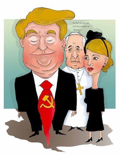 Cartoon: Trump-Pope ! (medium) by Shahid Atiq tagged afghanistan,is,not,save