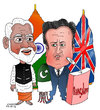Cartoon: David Cameron in India (small) by Shahid Atiq tagged afghanistan,kabul,syria,iran,switzerland,schweiz,usa,france,football,safi,cartooneu,uk,india,shahid,atiq