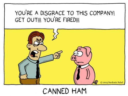 Cartoon: canned ham (medium) by sardonic salad tagged pig,cartoon,comic,sardonic,salad