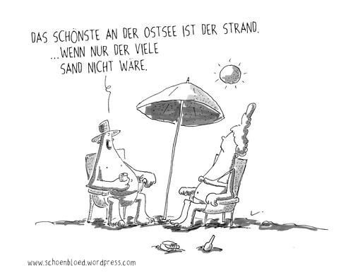 Sonnenschirm strand comic  Sand von SCHÖN BLÖD | Natur Cartoon | TOONPOOL