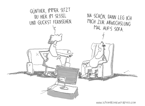 Sofa von sch n bl d philosophie cartoon toonpool for Couch lustig
