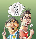 Cartoon: Football duel! (small) by javad alizadeh tagged messi,ronaldo,soccer,football,world,cup,duel