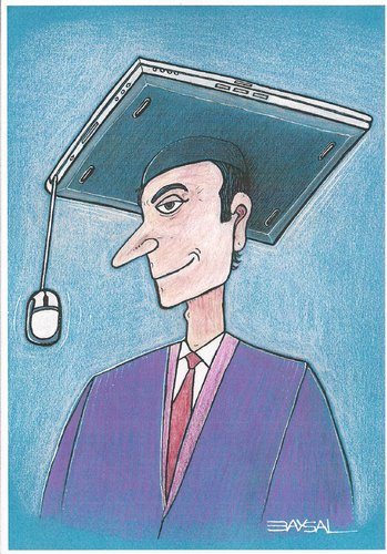 Cartoon: Education (medium) by ercan baysal tagged pc,teacher,celebration,tv,media,culture,ercanbaysal,portrait,science,internet,character,handmade,work,picture,master,job,good,selfie,vision,facebook,link,digital,twitter,art,web,image,graduation,education,illustration,university