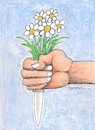 Cartoon: Love and violence... (small) by ercan baysal tagged love,women,violence,woman,sweetheart,sexualty,sex,men,weapon,flower,knife