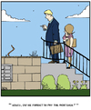 Cartoon: Bank Reposession (small) by Tim Akin Ink tagged humor,funny,bank,foreclosure,mortgage