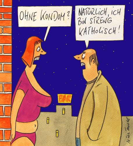 Cartoon: streng katholisch (medium) by Peter Thulke tagged kirche,kondom,bordell,kirche,kondom,sex,bordell,prostitution,glaube,religion,sakrileg