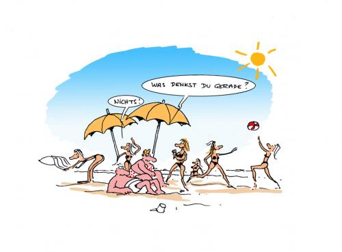 Cartoon: -Was denkst du gerade ? (medium) by cartoonage tagged strand,urlaub,denken