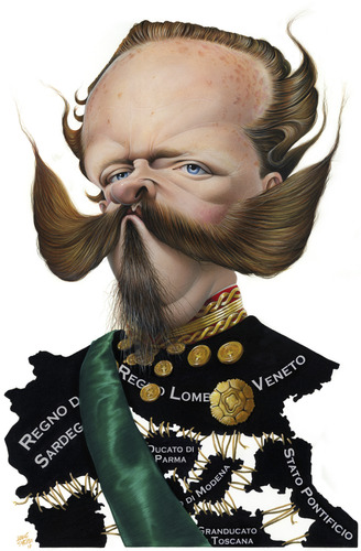 Cartoon: Vittorio Emanuele II (medium) by achille tagged emanuele,vittorio,re,king