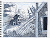 Cartoon: Cabin in the Woods (small) by Cartoons and Illustrations by Jim McDermott tagged ink,woods,sketchbook,cabin