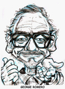Cartoon: George Romero (small) by Cartoons and Illustrations by Jim McDermott tagged georgeromero zombie caricatures horrormovies scary