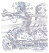 Cartoon: Mummy Running (small) by Cartoons and Illustrations by Jim McDermott tagged mummys scary monsters horror pencilsketch