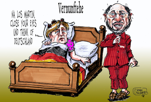 Cartoon: Vernunftehe (medium) by jean gouders cartoons tagged merkel,schulz,spd,cdu,coaliton,merkel,schulz,spd,cdu,coaliton