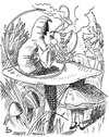 Cartoon: down a rabbit hole in weybridge (small) by John Doherty tagged beatles,lennon,alice,in,wonderland,tenniel
