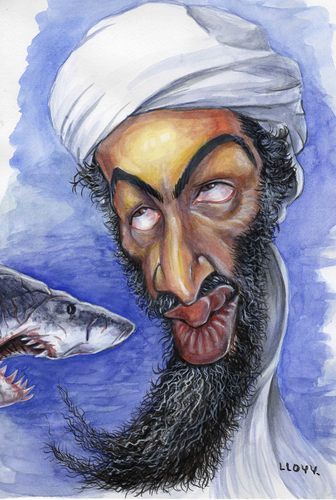 Cartoon: Osama bin Laden and Shark (medium) by lloyy tagged osama,bin,laden,shark,caricature,sea,terrorism
