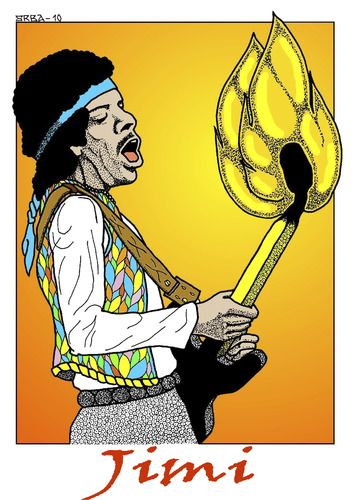 Cartoon: JIMI (medium) by srba tagged jimi,hendrix,music,isle,of,wight,burning,guitar