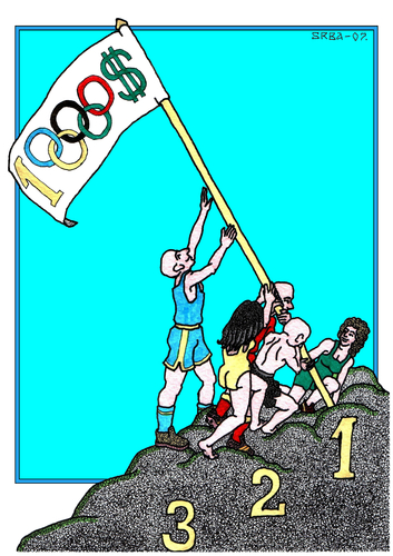Cartoon: Olympic Games (medium) by srba tagged money,flag,sport,games,olympic