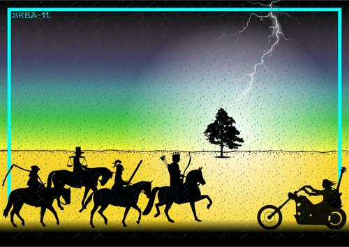 Cartoon: Riders on the Storm (medium) by srba tagged apocalypse,fourhorsemen,storm,thedoors