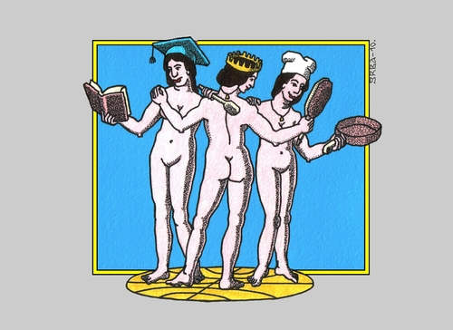 Cartoon: The Three Graces - Womans Day (medium) by srba tagged day,womans,raphael,graces,three