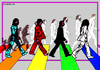 Cartoon: The Beatles (small) by srba tagged the beatles rock music abbey road evolution