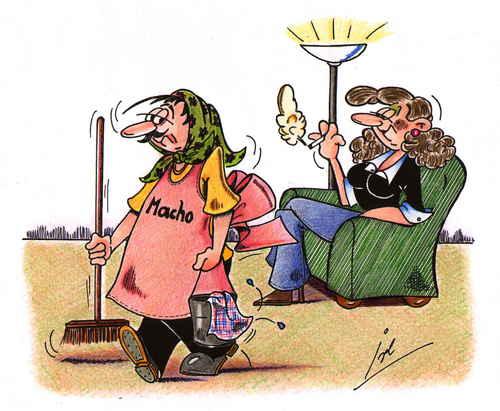 Cartoon macho medium by irlcartoons tagged putzfrau schürze