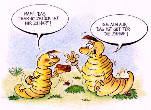 Cartoon: Mutterliebe (medium) by irlcartoons tagged holzwurm,holz,wurm,zähne,zahnarzt,mutter,mutterliebe,kind,familie,tier,baum,hunger,essen,gesundheit,schädling,käfer,larve,biologie,natur,bio