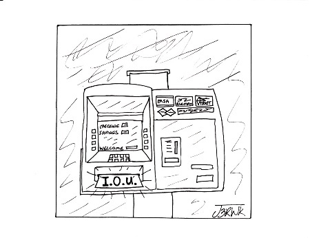 Cartoon: ATM (medium) by cartoonme1 tagged banks,atm,recession,bankruptcy,usa