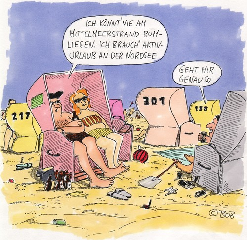 Strandkorb comic  Aber hallo. von Christian BOB Born | Philosophie Cartoon | TOONPOOL